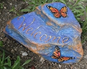 WELCOME butterfly rock - hand painted