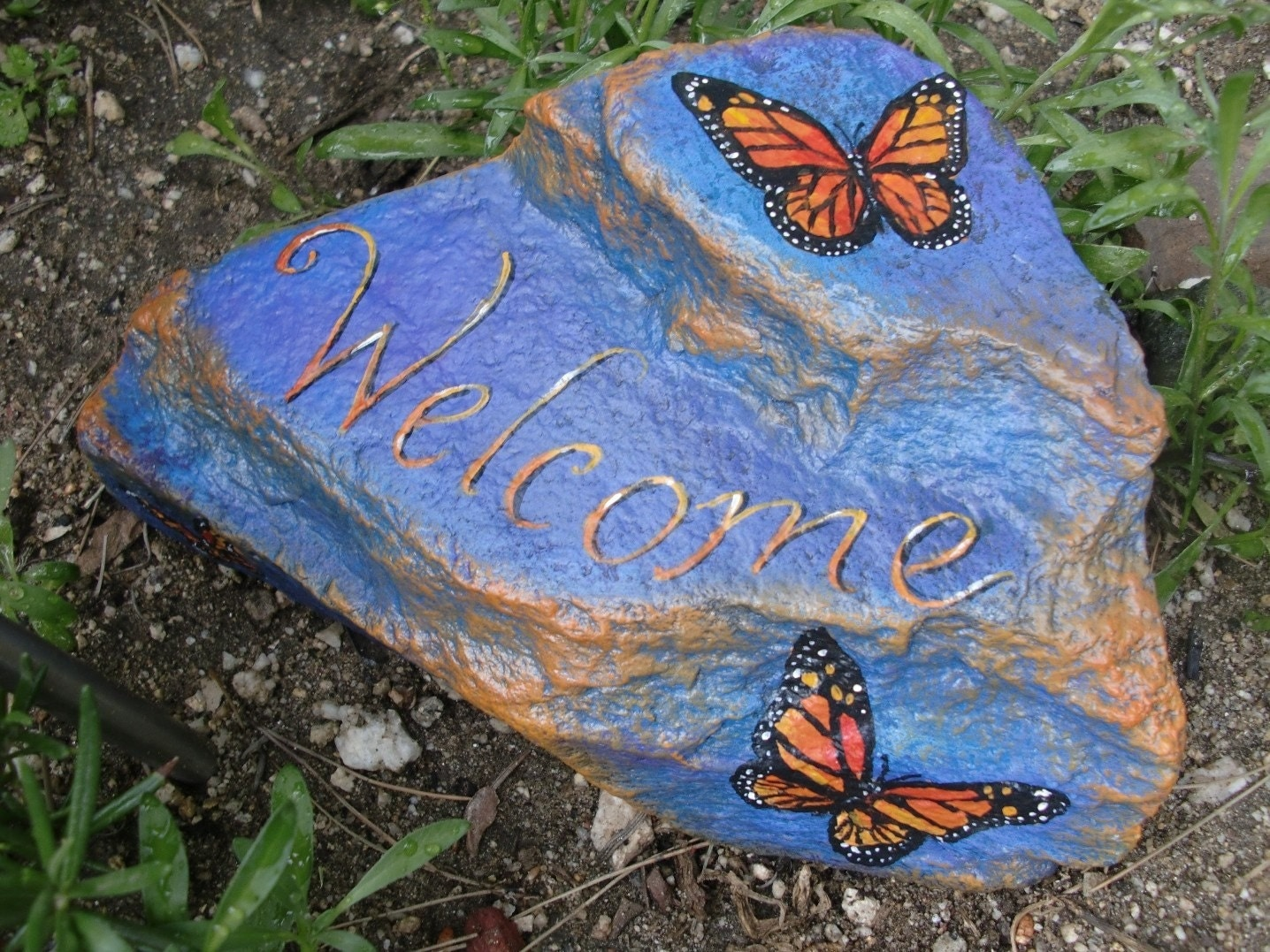 Welcome butterfly rock hand painted by mygardenrocks on etsy for Spray paint rocks for garden