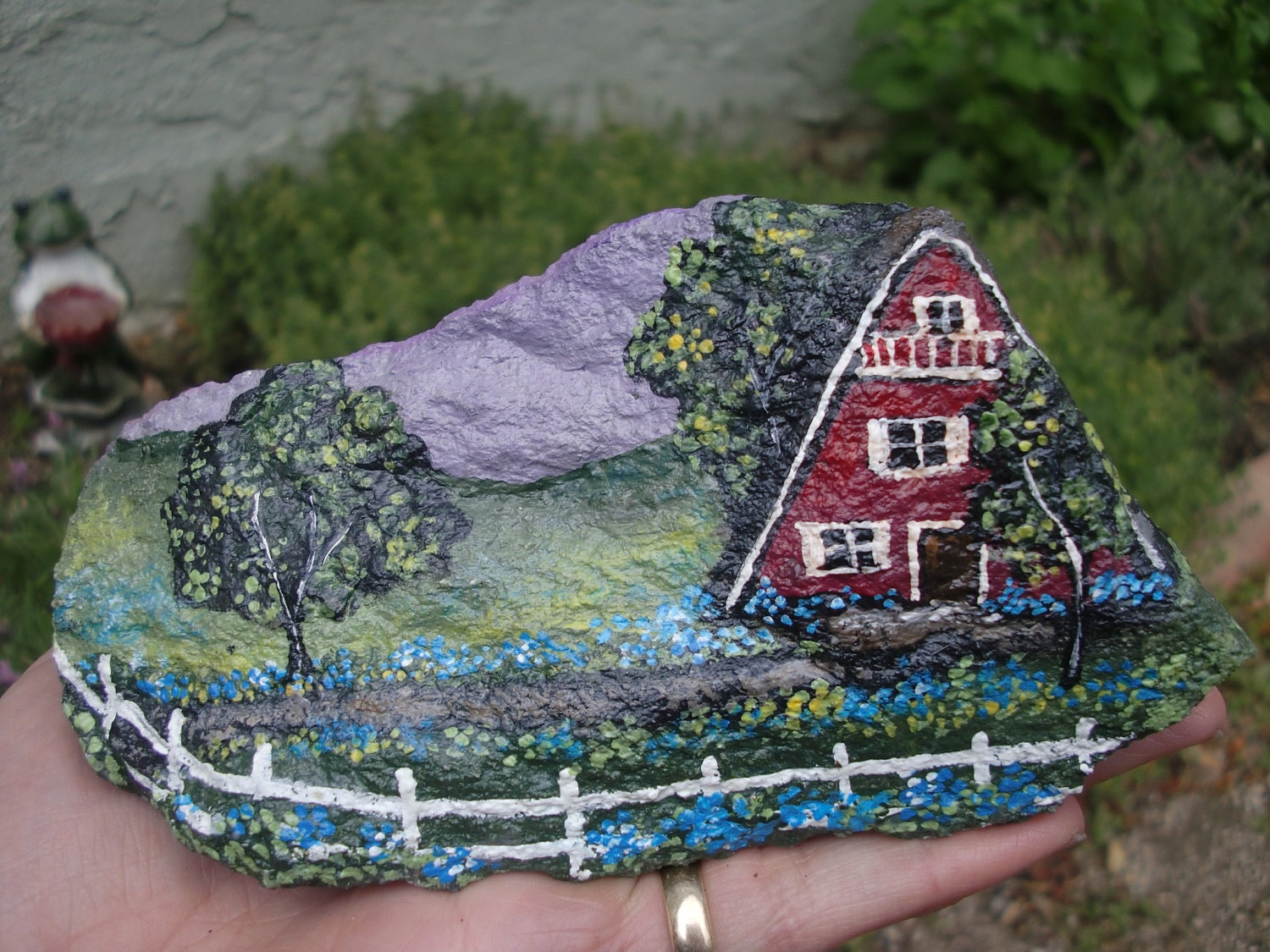 Home for sale hand painted garden art for Rock garden rocks for sale
