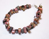 """Pink and Black Shell Chips Bracelet 8"""" Silver"""