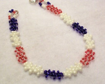 """SALE 4th of July Patriotic Red White Blue Woven Bracelet Simple Silver 7.5"""" Handmade Original"""