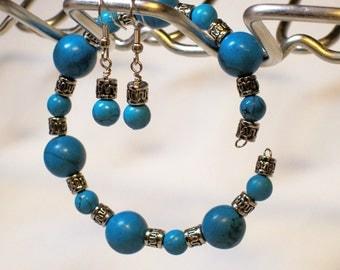 Faux Turquoise Blue Silver Memory Wire Bracelet Earring Set Hypo-Allergenic Earwires 9 Inch