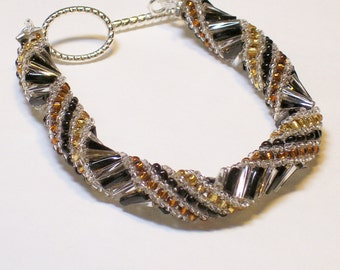 """Handmade Black Brown Gold Silver Woven Bracelet 7"""" Toggle Clasp"""