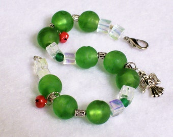 SALE SALE SALE Christmas Green Bracelet with Angel Charm and Bells