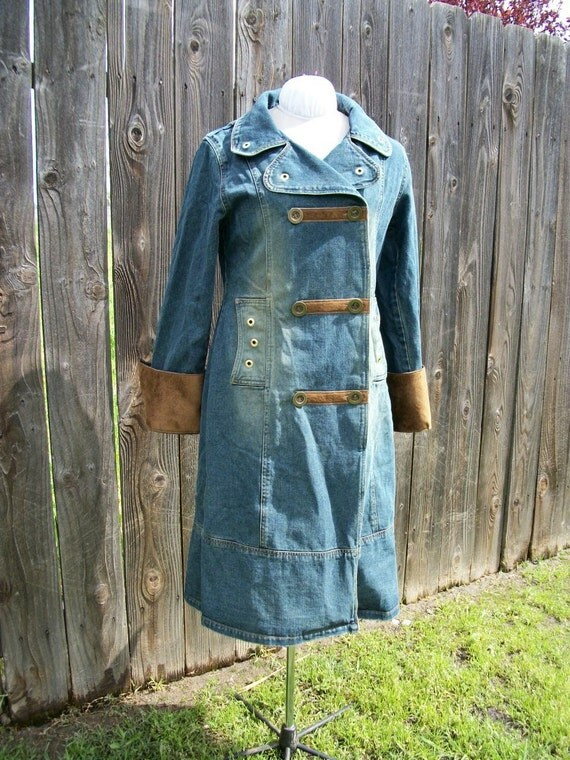 Steampunk Long Distressed Denim Coat Jacket Airship Pirate Buttons Brass Upcycled Recycled L