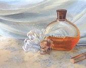 Memories - Greeting Card from original oil painting of chantilly perfume and rose