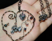 For the Love of  Bikes  Motorcycle wire wrapped heart pendant Necklace