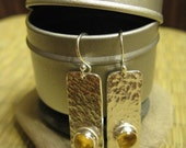 SALE - amber champagne earrings - sterling silver, citrine