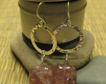 peach drop earrings - muskovite (russian sun stone) and sterling silver