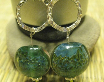 Glass algae earrings - handblown turquoise and green class and sterling silver