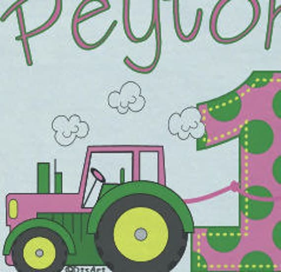 Baby Onesies Country Green and Pink Tractor 1st Birthday Onesie for a Girl w/ personalized name customized