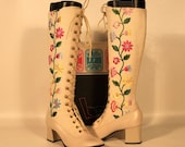 size 6 Vintage 60s Mod embroidered Floral GoGo Boots