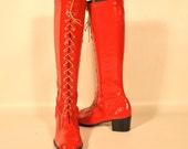 size 8 Mod CANDY APPLE RED Tall Patent GoGo Corset Boots knee high
