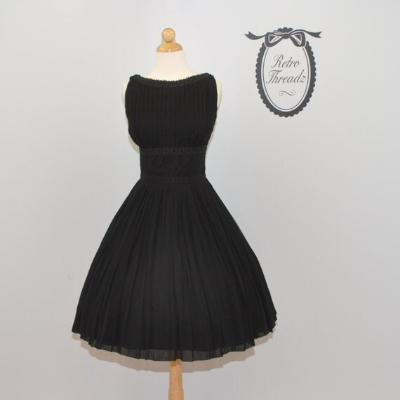 vintage 50s Raven ruched chiffon cocktail circle skirt party dress