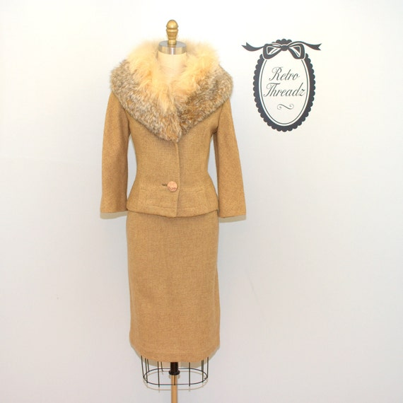 Reserved Vintage 1950s Luxurious Fox Dress Suit / Jacket Set / Size Small