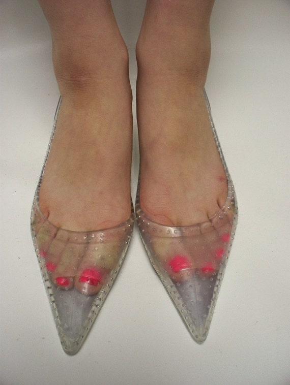 vintage 80s crystal clear jelly pumps    shoes size 8 euro
