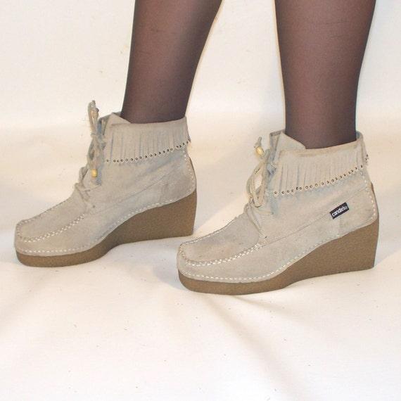 vintage wedge leather moccasin fringe boots size 8