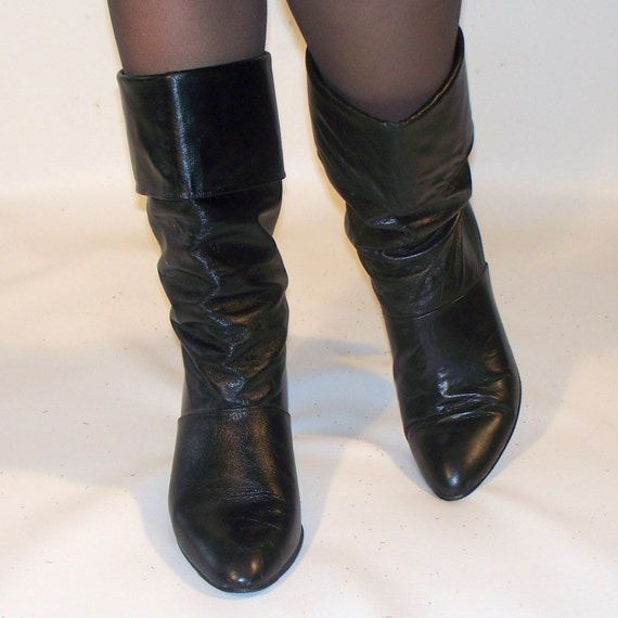 vintage black leather slouchy knee boots by