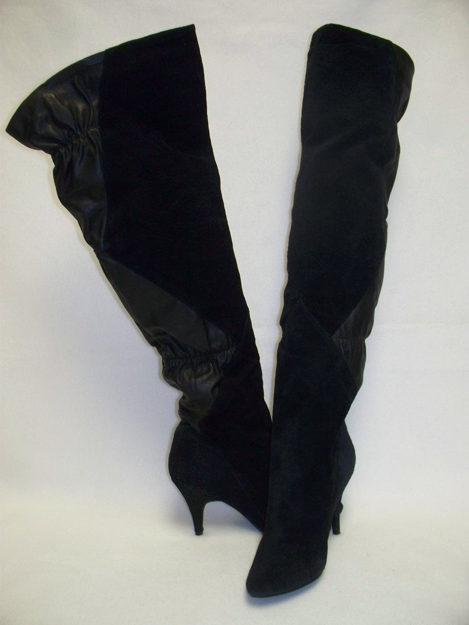 vintage 80s black leather thigh high boots otk pirate