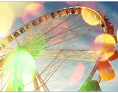 "Ferris wheel in Paris photograph - dreamy, romantic nursery wall art, office or home decor 11.5""x 8"""
