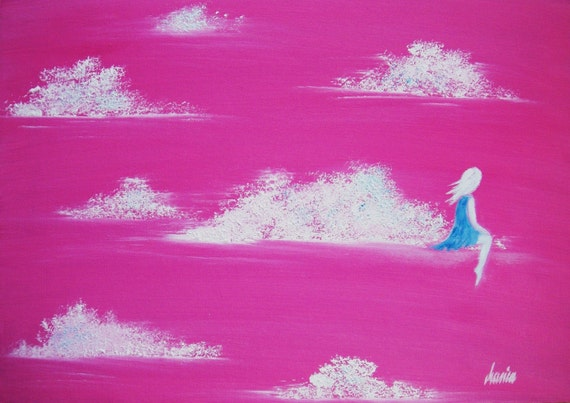 Where Are You... I Feel Alone Again...- original modern contemporary surreal textured oil painting canvas board pink sky