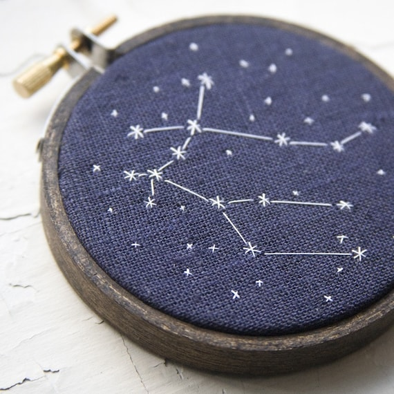Zodiac Constellation Hand Embroidered Stars of Your Choice