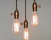 Vintage Minimalist ... Three Light Bare Bulb Pendant