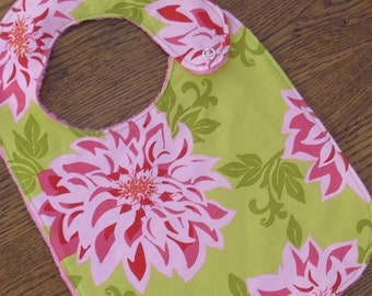 On Sale - Pink and Lime Green Chrysanthemum Minky Bib -LAST ONE