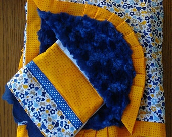 Tiny Yellow and Navy Blue Bird and Flower Minky Blanket and Burp Cloth