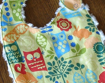 Woodsy Owl Minky Baby/Toddler Bib - LAST ONE