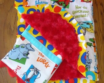 New.... Dr. Seuss Characters with Red Minky Blanket and Burp Cloth Set...PERSONALIZATION AVAILABLE