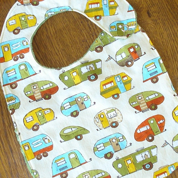 ON SALE Unitl the End of April - Camping Travel Trailor  Minkie Baby/Toddler Bib - Last One - Annual bib Sale