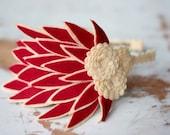 Red Felt feather fascinator headband