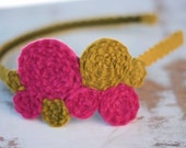 LARGE pink and green coil headband