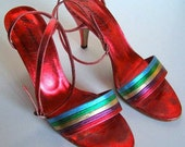 Vintage 1970s Red High Heel Sandal Shoes. Metallic Leather ankle straps Size 7.5