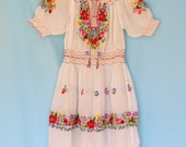 Antique 1920s Child's Hungarian Peasant Dress. Sheer Cotton Floral Embroidery and smocking