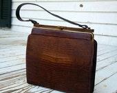 Vintage brown Lizard skin handbag purse. Kelly bag in Excellent condition.