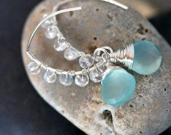 Turquoise Earrings - Aqua Earrings- Moonstone Earrings - Chalcedony Earrings - Wedding Jewelry - Something Blue