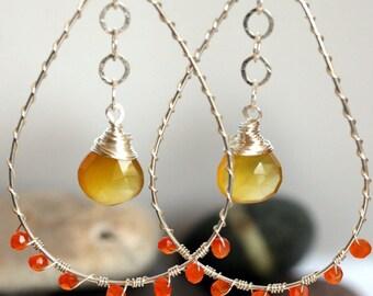 Silver Hoop Earrings - Yellow Chalcedony and Carnelian- Yellow Earrings - Orange Earrings