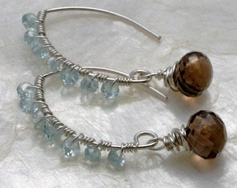 Aquamarine Earrings - Smoky Quartz Earrings - Sterling Silver Earrings