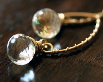 Crystal Earrings - Gold and Crystal Earrings - Clear Crystal Earrings - Small Briolette Earrings