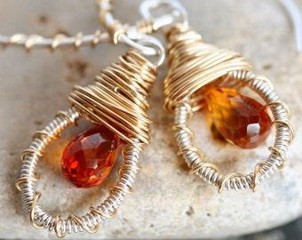 Small Hoop Earrings - Small Gold Hoop Earrings - Dangle Earrings with Orange Stone -