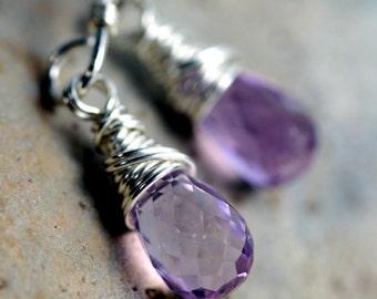 Amethyst Briolette Earrings- Purple Dangle Earrings-  Sterling Silver Earrings - Amethyst Arcs