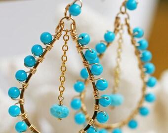 Sleeping Beauty Turquoise  Earrings - Gold Hoop Earrings- Turquoise Jewelry- Turquoise Earrings - Hoop Earrings