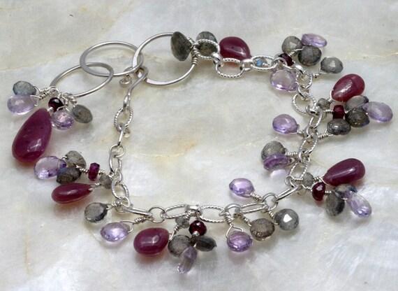 SALE - Gemstone Bracelet - Purple Bracelet - Charm Bracelet - Bracelet with Dangles