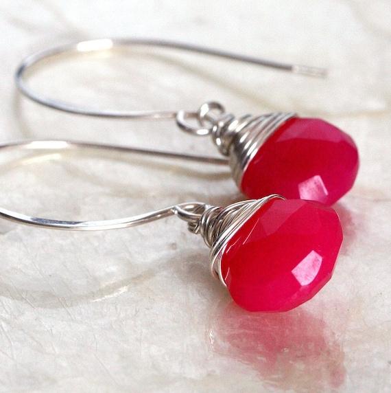 Pink Chalcedony Earrings  - Hot Pink Earrings - Chalcedony Briolette Earrings - Neon Earrings