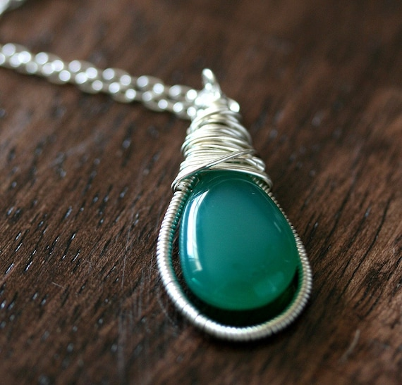 Chalcedony Necklace - Green Stone Necklace