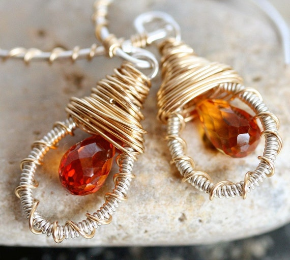 Small Hoop Earrings - Small Gold Hoop Earrings - Dangle Earrings with Orange Stone -