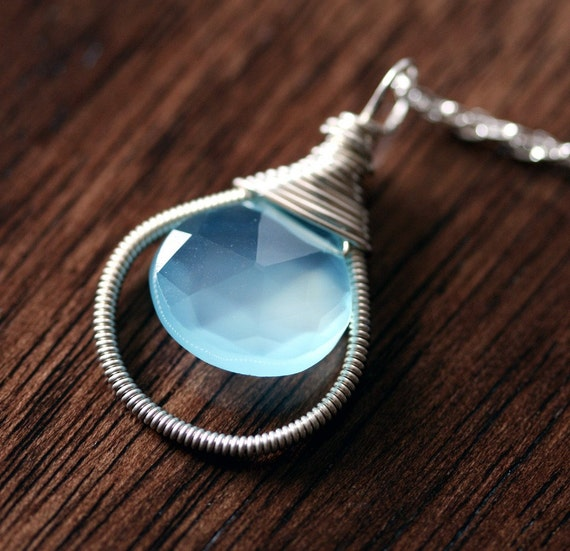 Chalcedony Necklace - Aqua  Chalcedony Necklace- Sterling Silver Wire Wrapped