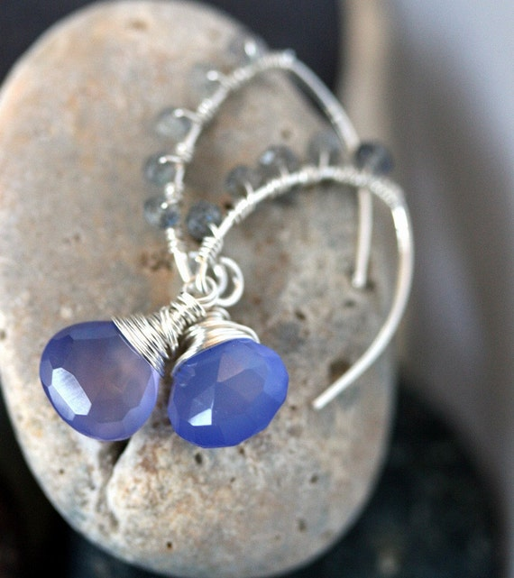 Chalcedony  Earrings - Chalcedony and Labradorite DangleEarrings